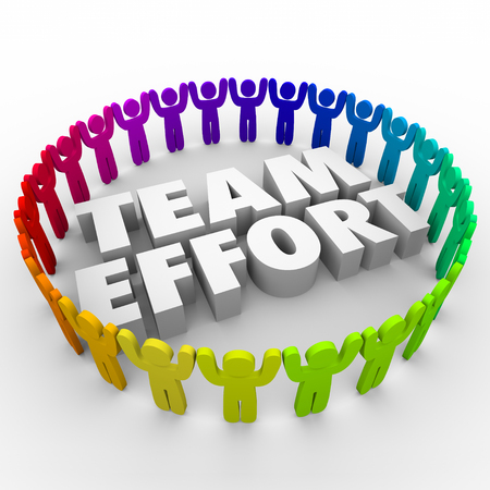 solver: Team Effort words in middle of people around 3d letters to illustrate diverse workforce working together to achieve success or solve problem Stock Photo