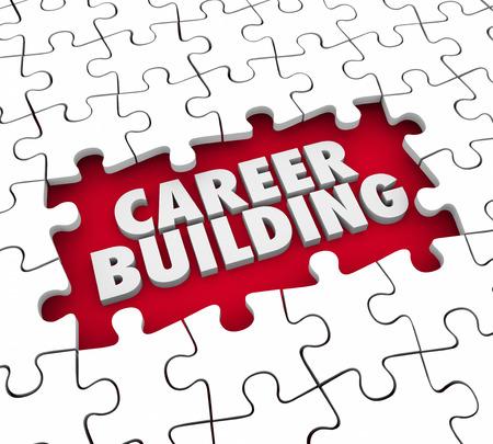 competencias laborales: piezas del rompecabezas de la carrera de construcción a partir de un nuevo puesto de trabajo o la posición de la experiencia, las habilidades y las referencias Foto de archivo