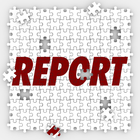 inform information: Report word on puzzle pieces to illustrate tracking budget amounts or sales performace with data, analysis, and recorded information Stock Photo