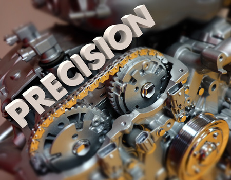 correctness: Precision word in 3d letters on engine gears to illustrate exact or perfect technology in modern motors and mechanisms Stock Photo