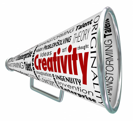 Creativity words on a bullhorn or megaphone announcing you as inventive, innovative, imaginative and inspired