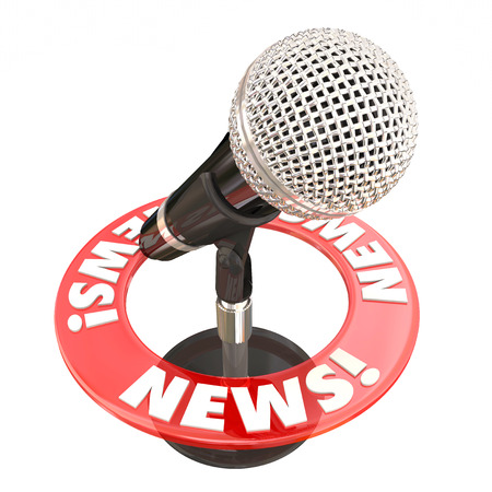 shared sharing: News word on red ring around microphone for broadcast sharing urgent information updates Stock Photo