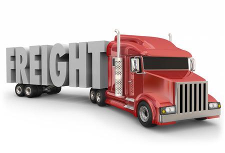 貨物トラック トレーラー製品、商品または商品配達または出荷トラック運転手によって連行を説明するために 3 d 文字内の単語