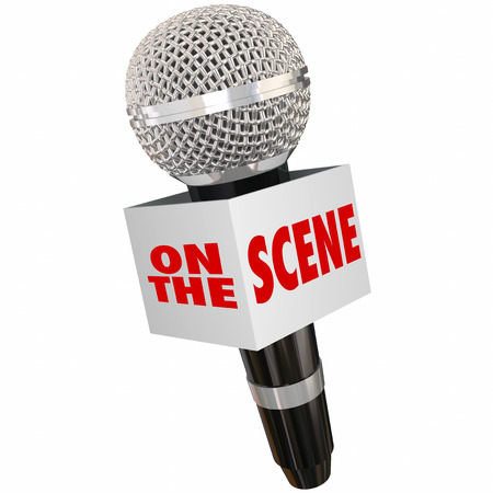 eyewitness: On the Scene words on a microphone box to illustrate reporting on location with an urgent or important update or alert Stock Photo