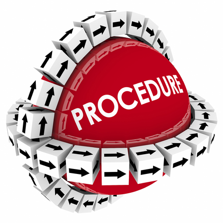 encircling: Procedure word on red sphere with arrow boxes encircling it to represent a system, process or method for performing a task or doing a job following organized instructions
