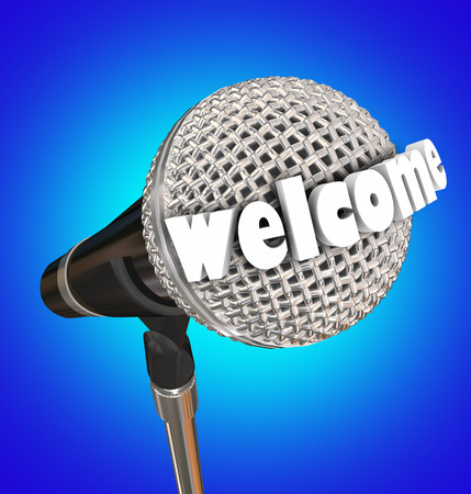 Welcome word oa microphe in 3d letters to illustrate opening introudction remarks in a speech, presentation or ceremony Reklamní fotografie