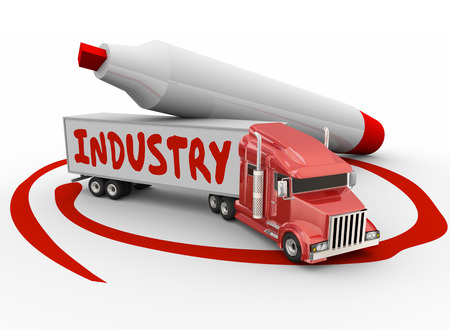 manage transportation: Industry word on truck trailer to illustrate manufacturing, logictics, transportation or delivery business or company