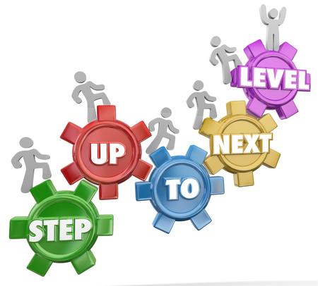 Step Up à Next Level dans les mots 3d sur roues que les gens se lèvent pour atteindre le succès à travers plusieurs étapes importantes