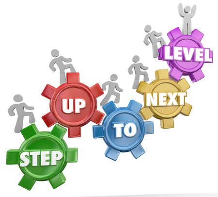 Step Up to Next Level in 3d words on gears as people rise to achieve success through several important milestones Stockfoto