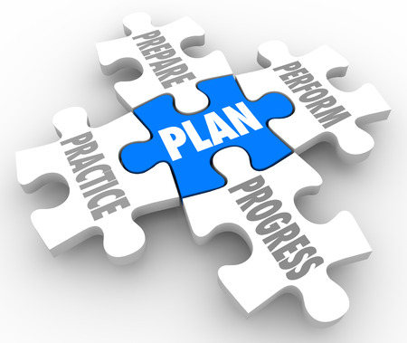 getting better: Plan word on a puzzle piece with Perform, Practice, Prepare and Progress connected to it as a blueprint for success in job, career or life in meeting a goal or objective