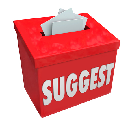 opinions: Suggest word on a red collection box soliciting ideas, comments, opinions, feedback, suggestions or reccomendations