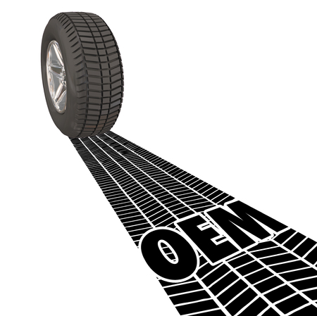 selling service: OEM letters in the tire tracks of a wheels treads to illustrate Original Equipment Manufacturer products, parts and services for your auto, truck or vehicle