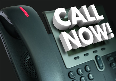 caller: Call Now 3d words on an office telephone for customer service and taking orders when clients act and contact us