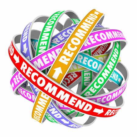 referrals: Recommend word on connected feedback loops to illustrate customers spreading good word on your business, company or products and making endorsements