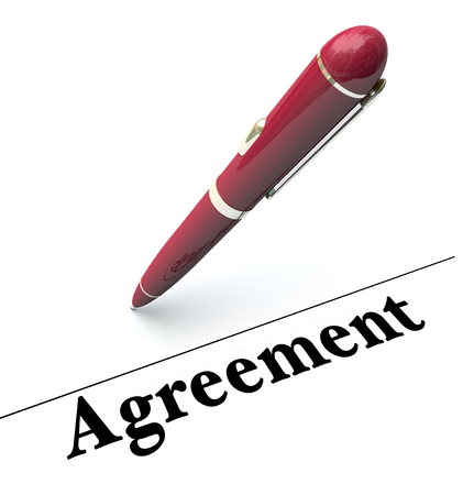 agreeable: Agreement word on a legal document and pen to illustrate signing a legal document for a commitment or obligation