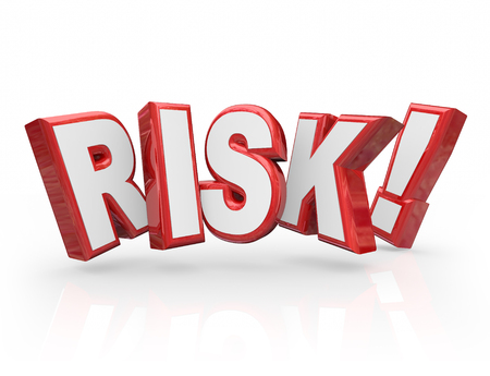 perilous: Risk word in red 3d letters to illustrate danger, hazard, warning or liability with a problem, issue or trouble Stock Photo