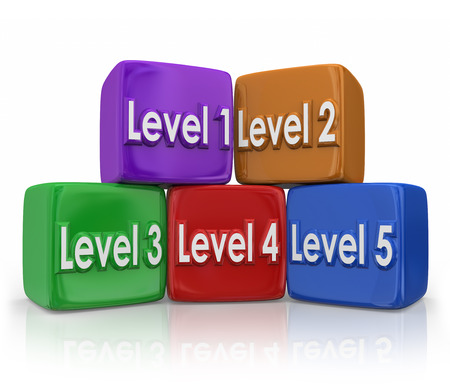 difficult lives: Level 1, 2, 3, 4, 5 on color cubes or blocks to illustrate stepping up to the next position or degree