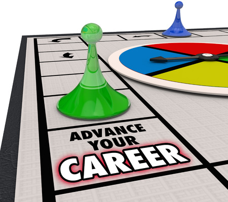 Advance Your Career words on a board game and piece moving forward in a promotion or advancement