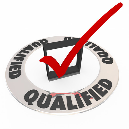 proving: Qualified word on ring around check mark and box to illustrate you are approved or accepted with good experience and qualifications Stock Photo