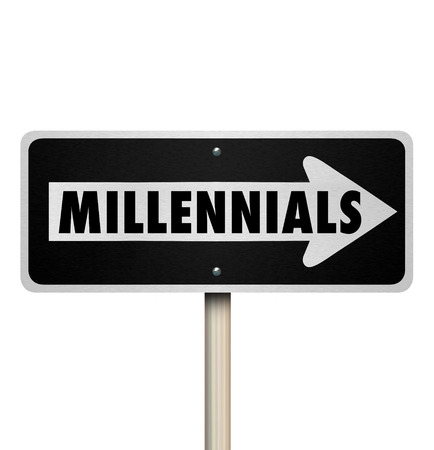 generation y: Millennials word on a one way road or street sign pointing the direction to find young people in Generation Y Stock Photo