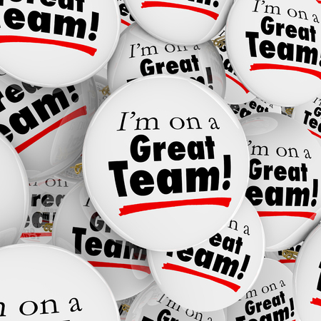 collaborator: Im on a Great Team words on many buttons or pins in a pile to be worn by members, staff or employees to show their pride in working together as part of a good organization