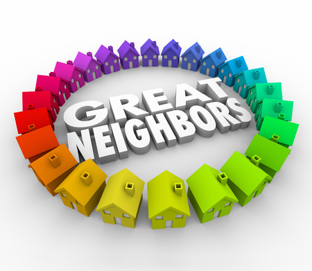 Great Neighbors 3d words surrounded by a ring of colorful houses or homes for a welcome to the community, association or meeting Stockfoto