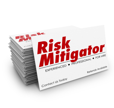 mitigating: Risk Mitigator words on business cards for a professional or specialist helping you decrease danger or liability
