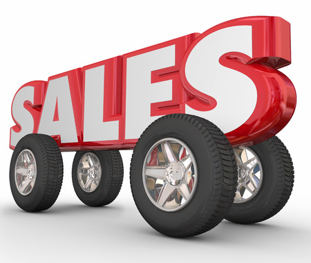 automobile dealership: Sales word in red 3d letters with wheels and tires to illustrate automotive, car, vehicle or truck sale numbers, discounts or dealership deals