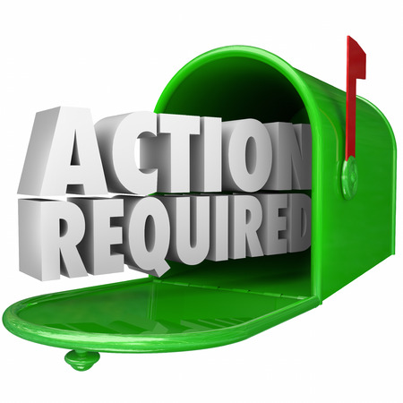 summons: Action Required 3d words in green metal mailbox to illustrate an important or urgent message, letter, document, late, notice, bill or invoice Stock Photo