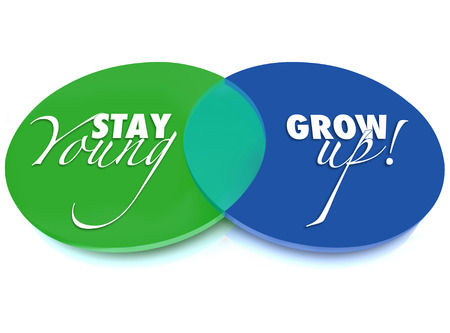 venn: Stay Young and Grow Up words on a venn diagram of two overlapping green and blue circles