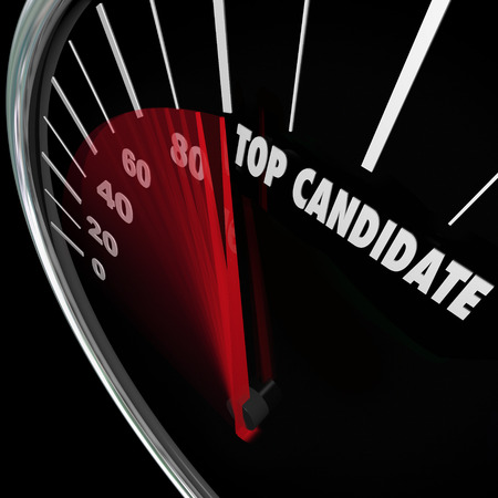 nominated: Top Candidate words on a speedometer tracking the popularity of a choice in an election for president, senate, congress or other elected office