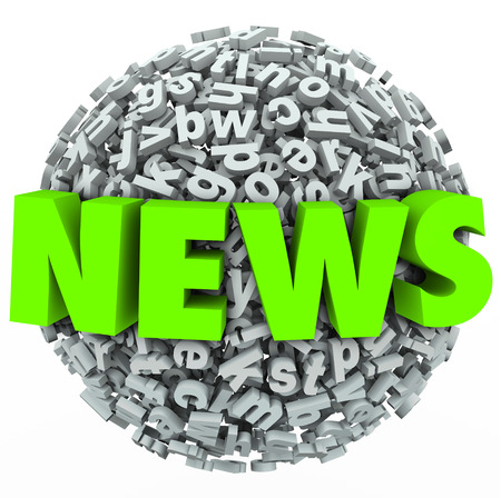 news update: News word in green 3d letters on a ball or sphere of letters to illustrate an important report, alert or update Stock Photo