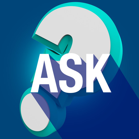 call for help: Ask word with long shadow on question mark to illustrate help or assistance in answering an inquiry or call for help