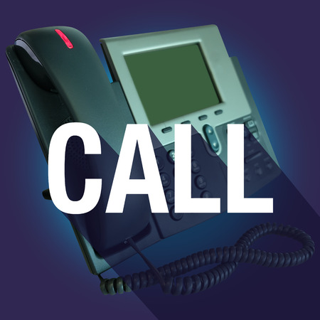 time critical: Call word on an office telephone for contact help or assistance, with long shadow