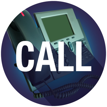 caller: Call word on an office telephone for contact help or assistance, with long shadow