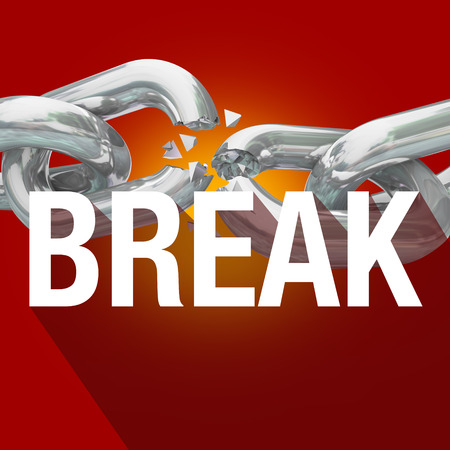 breaking the rules: Break word over breaking chains to illustrate freedom from constraints or rules