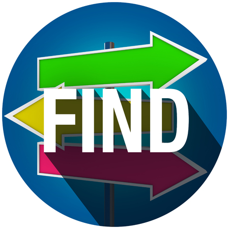 locating: Find word with long shadow over arrow signs for direction or guidance in searching for a solution, object or destination Stock Photo