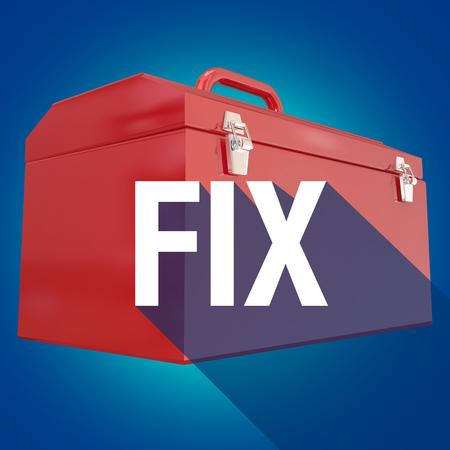 repaired: Fix word with long shadow over toolbox to illustrate repairs, mechanics or a do it yourself project
