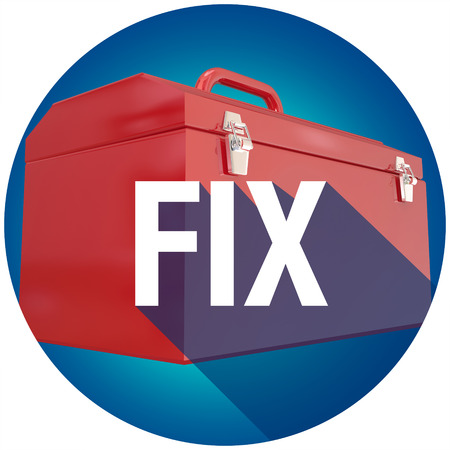 Fix word with long shadow over toolbox to illustrate repairs, mechanics or a do it yourself project