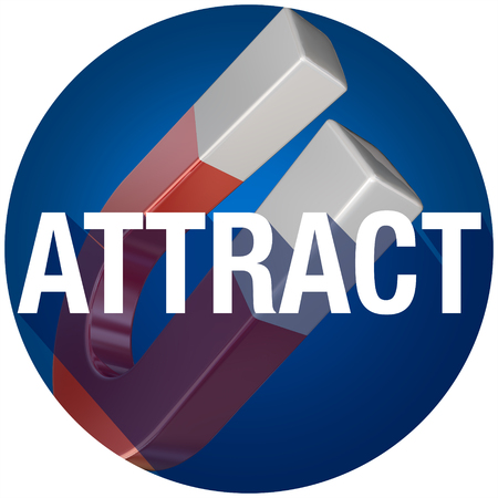 enticement: Attract word with long shadow over a magnet drawing attention or customers with your message