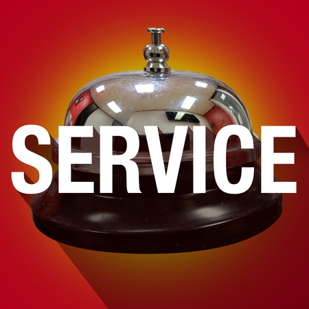 alerting: Service word with long shadow over bell for help or assistance Stock Photo