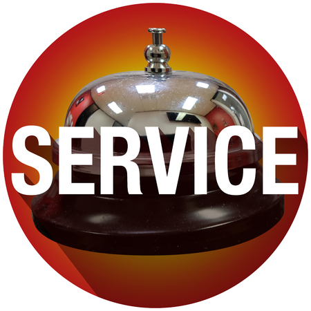 Service word with long shadow over bell for help or assistance Stock Photo