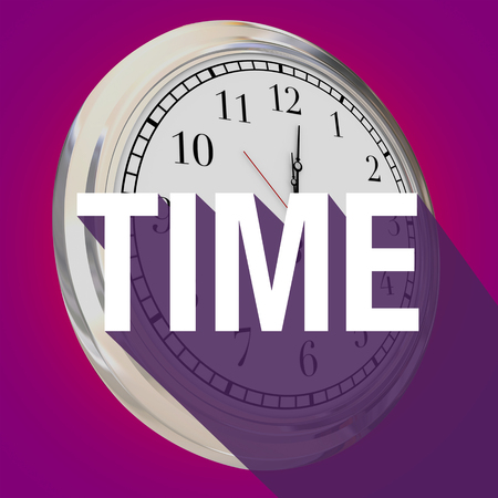 passing: Time word with long shadow over a 3d clock to illustrate passing of hours, minutes or seconds Stock Photo