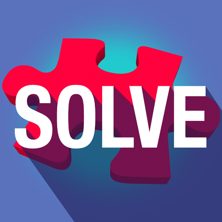 figuring: Solve word on puzzle piece with long shadow to illustrate completing a problem, challenge or dilemma Stock Photo