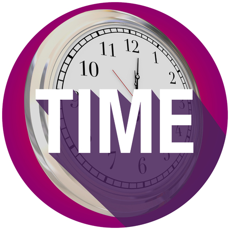 seconds: Time word with long shadow over a 3d clock to illustrate passing of hours, minutes or seconds Stock Photo