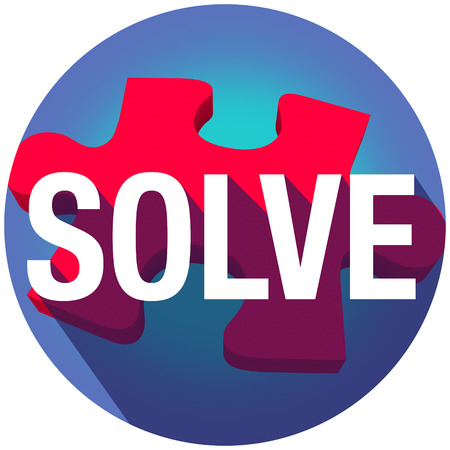 clues: Solve word on puzzle piece with long shadow to illustrate completing a problem, challenge or dilemma Stock Photo