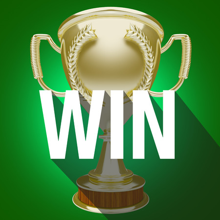 team game: Win word over gold trophy or award for winner or victorious team in a competition or game Stock Photo