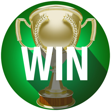 award winner: Win word over gold trophy or award for winner or victorious team in a competition or game Stock Photo