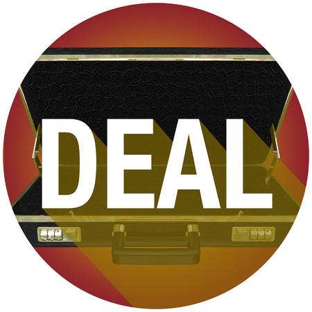 新しい顧客やバイヤーと契約を説明するためにブリーフケースに長い影を持つ単語を扱う 写真素材