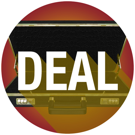 Deal word with long shadow on briefcase to illustrate a contract with a new customer or buyer Stock fotó